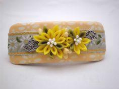 Handmade FRENCH BARRETTE Yellow chrysanthemum by JagataraArt