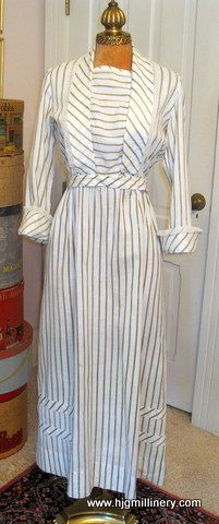 Charming Antique Edwardian Cream & Taupe Striped Cotton Afternoon Dress c1913 | eBay