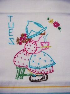 6 Cute Vintage Embroidered Dutch Girls Days of Week Striped Tea Dish Towels | eBay