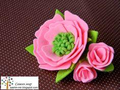 Сашин мир: Цветы из фетра - заколка автомат, felt flower