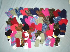 My 2011 collection of 50 mittens, donated to Christmas is for Kids. Mittens, Charity, Kids Rugs, Knitting, Projects, Christmas, Gifts, Collection, Home Decor