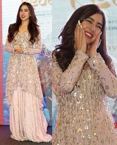 Sara Ali Khan and Amrita Singh look picture perfect as they get papped outside Manish Malhotra's house - HungryBoo Party Wear Indian Dresses, Desi Wedding Dresses, Designer Party Wear Dresses, Pakistani Dresses Casual, Indian Gowns Dresses, Indian Fashion Dresses, Kurti Designs Party Wear, Pakistani Bridal Dresses, Dress Indian Style