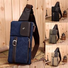 Men's Canvas Leather Backpack Shoulder Sling Chest Hiking Bicycle Bag Messenger