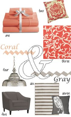 I also like the coral & grey combo. Maybe for office with a black & white canvas wall display arrangement ...?