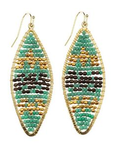 Y1SRG Nakamol Geometric-Beaded Drop Earrings, Turquoise/Gold