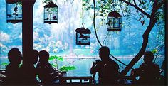 Bird keepers rest in a tea house in Chengdu, China