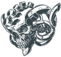 turbo skull Royalty Free Stock Vector Art Illustration