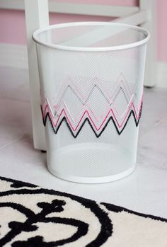 Add a pop of color to a waste basket with this embroidery home decor DIY project.