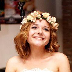 Cream rose flowers crown. Hair wreath. Polymer clay flowers. Wedding headband