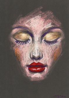 Original Pastel Drawing - Beauty Illustration - Red Lips, Golden Eyes