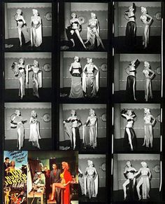 """A contact sheet of photos showing Libby Jones tutoring actress Jan Sterling on how to striptease, in preparation of Sterling's role as a showgirl in the 1954 crime film: """"THE HUMAN JUNGLE"""""""