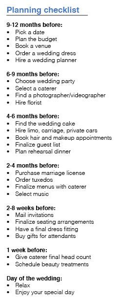 Wedding Planning Timeline Checklist Printable http://yesidomariage.com - Conseils sur le blog de mariage