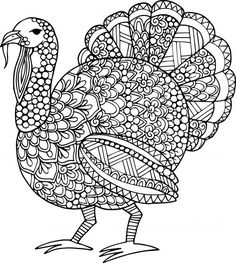 Adult coloring page Thanksgiving turkey | Holiday - Thanksgiving ...