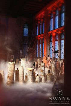 Halloween Inspired Wedding. Wedding Planning, Event Design & Production by SWANK Productions at Hempstead House at Sands Point Preserve. #halloween #wedding #spooky #fog #decor #events #Hempsteadhouse