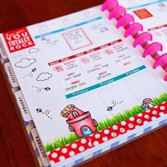Planner page (The Happy Planner) by designer Meredith Ensell using the Sweet Stamp Shop Gnomes, Basic Tabs and Plan To Eat stamp sets