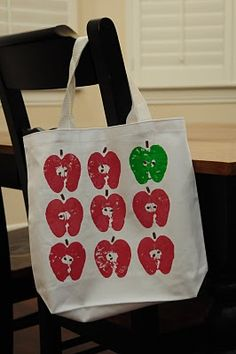 Apple #Stamped #Library Bag #craft