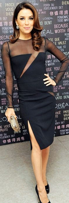 Who made Eva Longoria's black mesh cut out dress and black pumps?