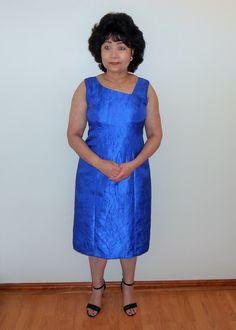 A sleeveless Taffeta dress with slanted neckline. Great for many summer occasions. Taffeta Dress, My Favorite Color, Designer Dresses, Royal Blue, Crushes, Neckline, Summer Dresses, Fabric, Blog