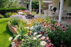 Kleurrijk bloemenbed naast de patio. Deze kleine tuin springt met een kleurrijke compositie echt in het oog.