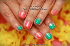 Gelish Turquoise and Orange Glitter Ombre nails by www.funkyfingersfactory.com