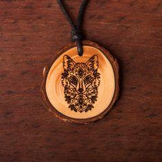 Fuchs - Ketten Holzschmuck aus Naturholz / Anhänger Vegan, Pocket Watch, Abs, Necklaces, Christmas Ornaments, Holiday Decor, Accessories, Jewelry, Craft