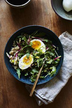 Arugula Breakfast Salad with Toasted Pistachio, Radish & Soft Eggs
