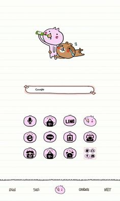Android theme, found on Line Launcher. Android Theme, Cute Themes, Snoopy, Wallpaper, Phone, Fictional Characters, Telephone, Wallpapers, Fantasy Characters