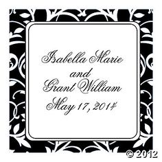 Personalized Black & White Wedding Favor Stickers    $16.00 FOR 12 SHEETS, A DOZEN PER SHEET