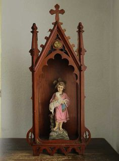 Chapel Neo Gothic Wooden Shrine Altar Gothic Revival Spain Antique Hand Made/818