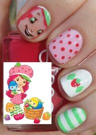 Strawberry Shortcake :) the face creeps me out.....but the other nails are SUPER cute!