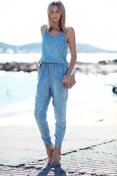A tres chic denim romper.