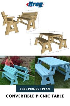 This is a dual purpose picnic table. Not only is this picnic table great for outdoor eating, but it easily converts into two cute garden benches. The picnic table's top folds down to create the back of the bench, for a relaxing seat. Outdoor Bench Table, Folding Picnic Table Plans, Folding Picnic Table Bench, Build A Picnic Table, Garden Bench Plans, Wooden Picnic Tables, A Table, Garden Benches, Potting Benches
