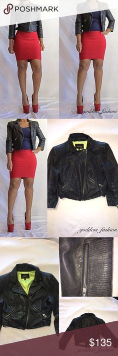 100% Leather Bebe Jacket 100% Leather 97% polyester lining crop leather zipper front, two zipper front pockets, two buckles one on each side and quarter length sleeves a little faded but in really good condition dark blue bebe Jackets & Coats
