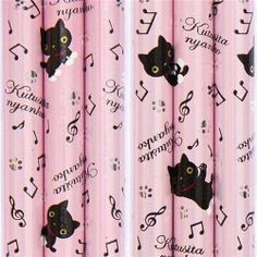 """cute Kutusita Nyanko cat pencil musical notes paws by San-X. $1.86. very good quality, super cute design. length: 17.6cm (6.9""""). 1 pencil, pencil lead: HB. by San-X, Import from Japan. cute pink wooden pencil with black cats, musical notes & paw prints. pink wooden pencil with black cats, musical notes & paw prints from Japan"""