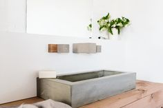 STYLE CURATOR unveil new concrete & bath tap ware range from Wood Melbourne. Oliver MacLatchy has expanded beyond timber to include handmade concrete range. Melbourne, Concrete Bathroom, Concrete Sink, Cement, Concrete Design, Vanity Basin, Natural Bathroom, Bath Taps, Poured Concrete