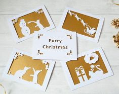 Pack of 5 in) sized papercut guinea pig themed special edition Christmas cards, 5 envelopes are included in the pack. The 5 cards included within the set are: .Santa & His Guinea Pigs.Present Dreams.Christmas H Gold Christmas, Christmas Hats, Christmas Holidays, Xmas, Build A Snowman, Gifts For Pet Lovers, Guinea Pigs, Paper Cutting, Red Green