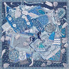 Scarf 90 Hermès | Cavaliers du Caucase by Annie Faivre SS 2015 CW 12 marine/gris/turquoise