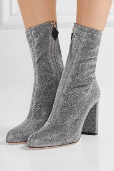 Heel measures approximately 95mm/ 4 inches Silver textured-lamé Zip fastening along side Made in Italy