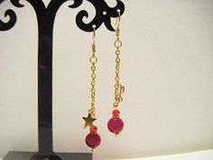 Wine red long earrings gift for her long color by Coloramelody