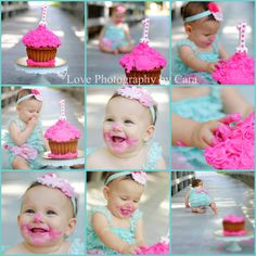 Outdoor Cake Smash- such pretty colors with the pink and blue!