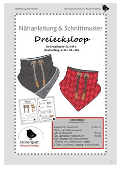 Nähanleitung Dreiecksloop Loop With this very simple sewing instructions and the attached pattern you can sew from woven or knitted fabric (cotton, jeans, cord Loop Scarf, How Do You Knit, Knitting Patterns, Sewing Patterns, Easy Model, Modelista, Creation Couture, Clothing Hacks, Workwear