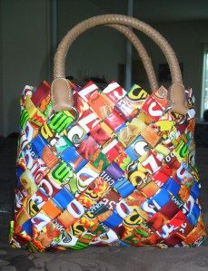 a cute purse made from chip bags, too cool