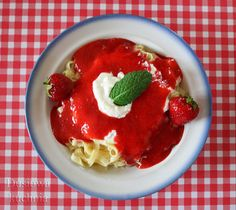 pasta with strawberry mousse