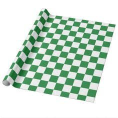 Checkered Dark Green and White Wrapping Paper