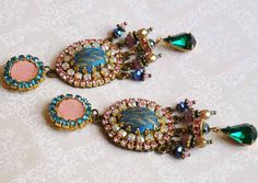 pink sun chandeliers earrings bright colors with green by ellivira, $45.00