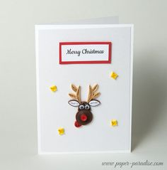 Items similar to Funny Quilled Christmas Card Quilling Reindeer Unique Handmade Xmas Card Gift Keepsake Christmas Cute Sweet Rudolf Personalized on Etsy Neli Quilling, Paper Quilling Earrings, Paper Quilling Cards, Paper Quilling Designs, Quilling Patterns, Quilling Ideas, Quilling Christmas, 3d Christmas, Diy Christmas Cards