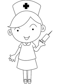 Top 25 Nurse Coloring Pages For Your Little Ones Coloring Pages For Boys, Animal Coloring Pages, Coloring Book Pages, Art Drawings For Kids, Drawing For Kids, Easy Drawings, Simple Cat Drawing, School Binder Covers, Nurse Cartoon