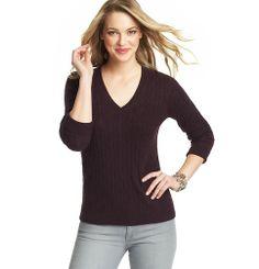 V-Neck Cable Sweater | Loft