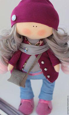 Купить Интерьерная текстильная кукла - фиолетовый, интерьерная кукла, хлопок, трикотаж
