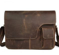 "Image of Leather Messenger Bag / Leather Satchel / 14"" 15"" MacBook 14"" 15""…"